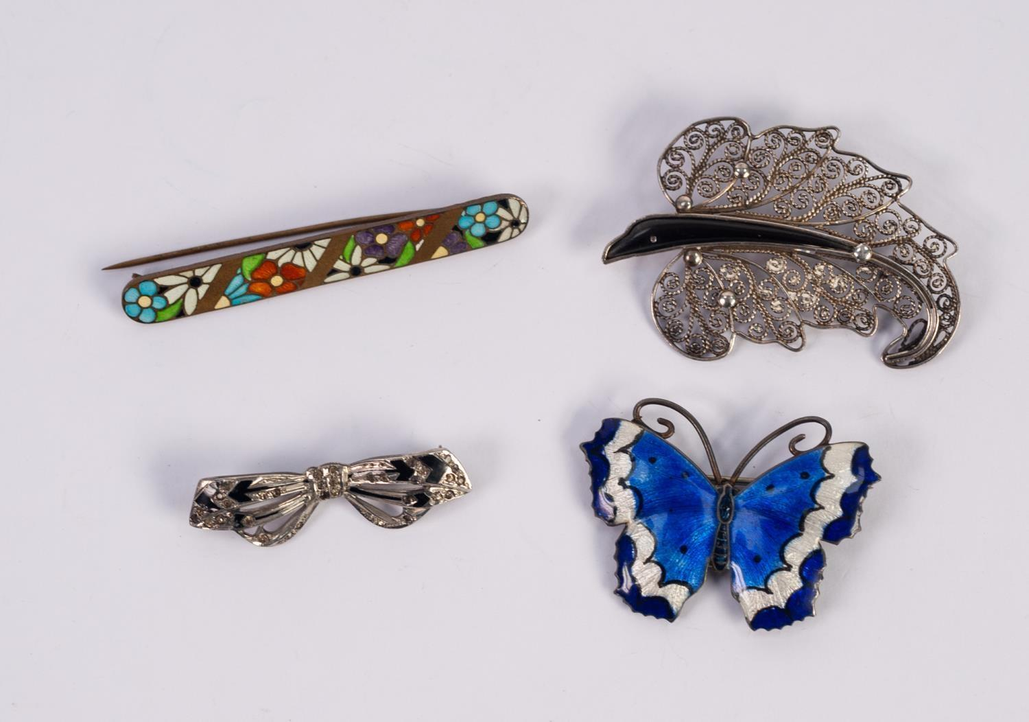 Lot 1019 - EARLY 20th CENTURY STERLING SILVER AND GUILLOCHE ENAMEL BUTTERFLY BROOCH in two shades of blue and