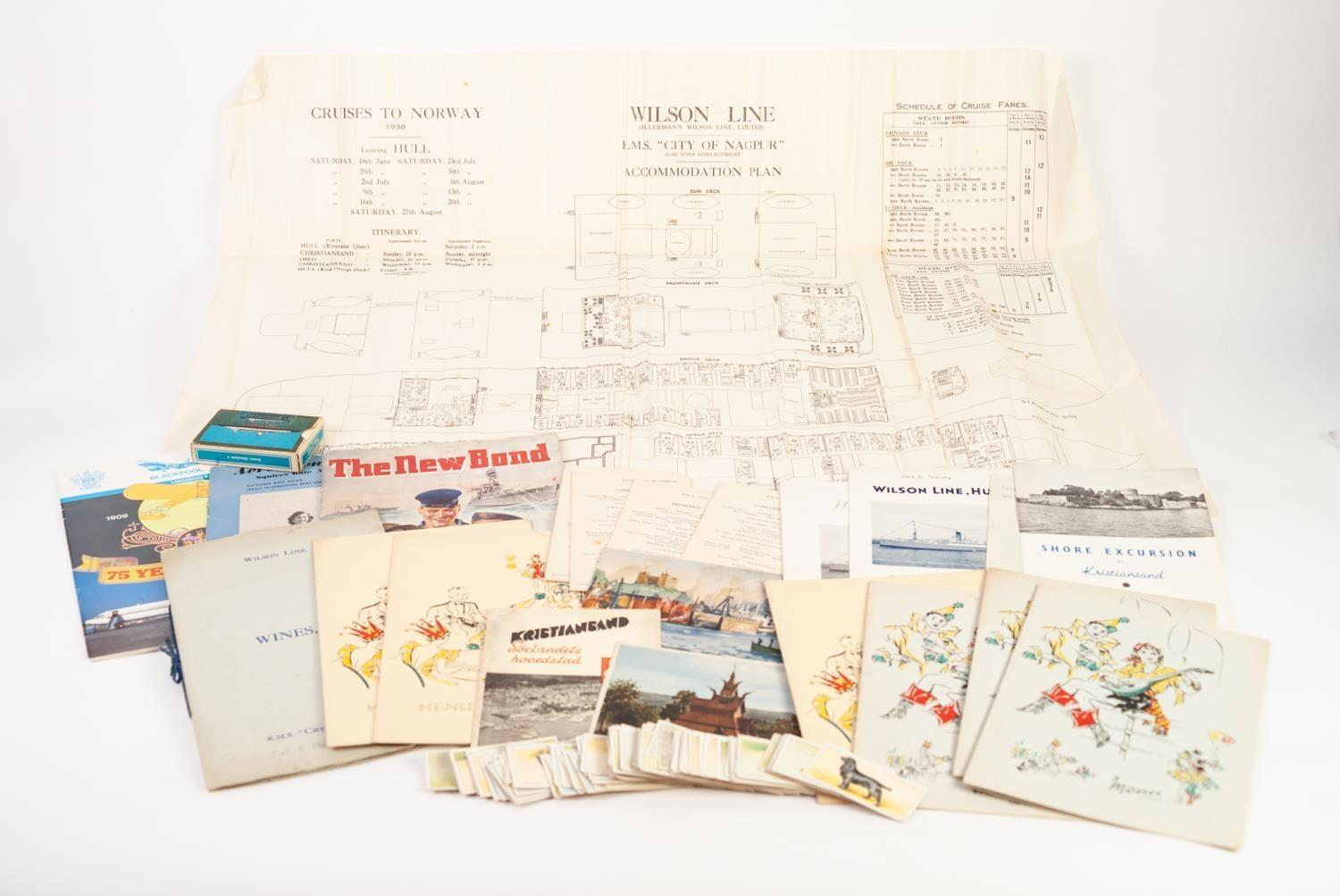 Lot 805 - SELECTION OF WILSON LINE, HULL, R.M.S. 'CITY OF NAGPUR 1938 SUMMER CRUISE MEMORABILIA including