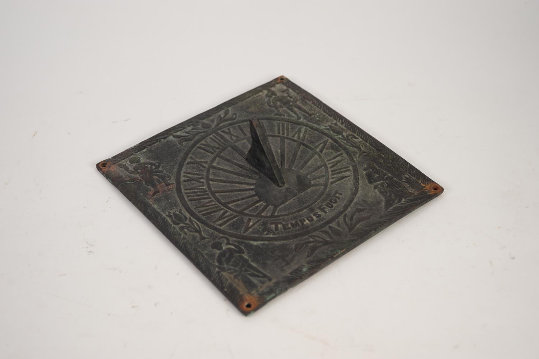 """Lot 879 - ANTIQUE CAST METAL SUNDIAL inscribed 'Tempus Fugit', 8 1/4"""" (21cm) square"""