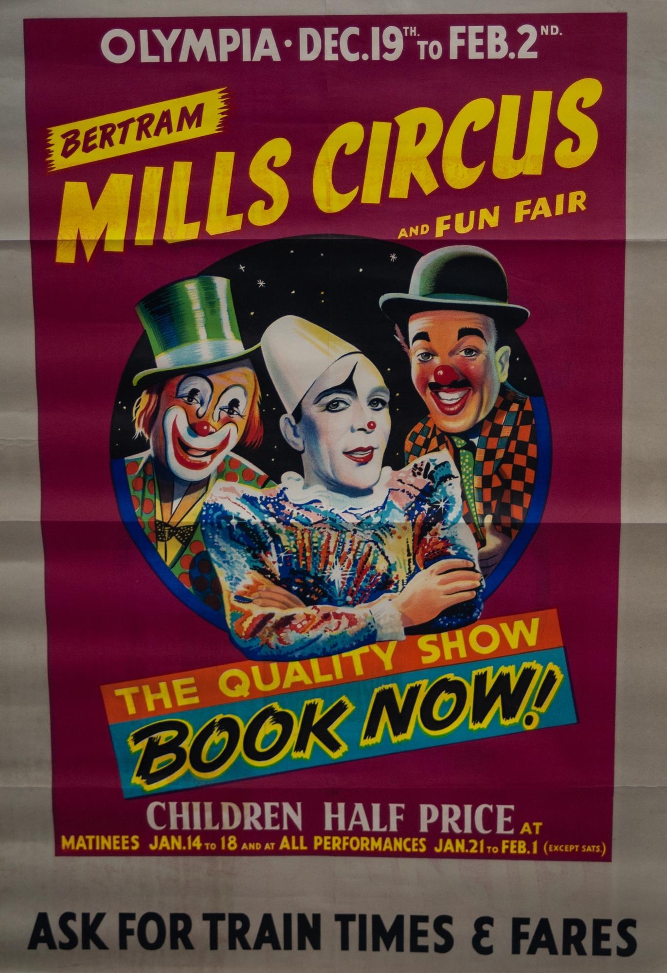 Lot 414A - CIRCUS ADVERTISING POSTER- An original poster advertising Bertram Mills Circus and Fun Fair