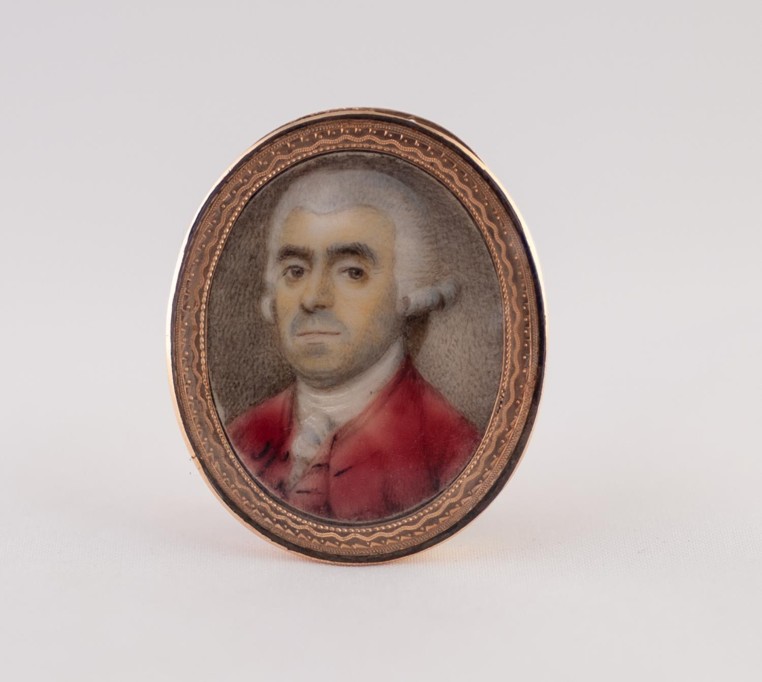 Lot 922 - BRITISH SCHOOL (LATE 18TH CENTURY), A GOOD OVAL PORTRAIT MINIATURE ON IVORY OF A GENTLEMAN WEARING A