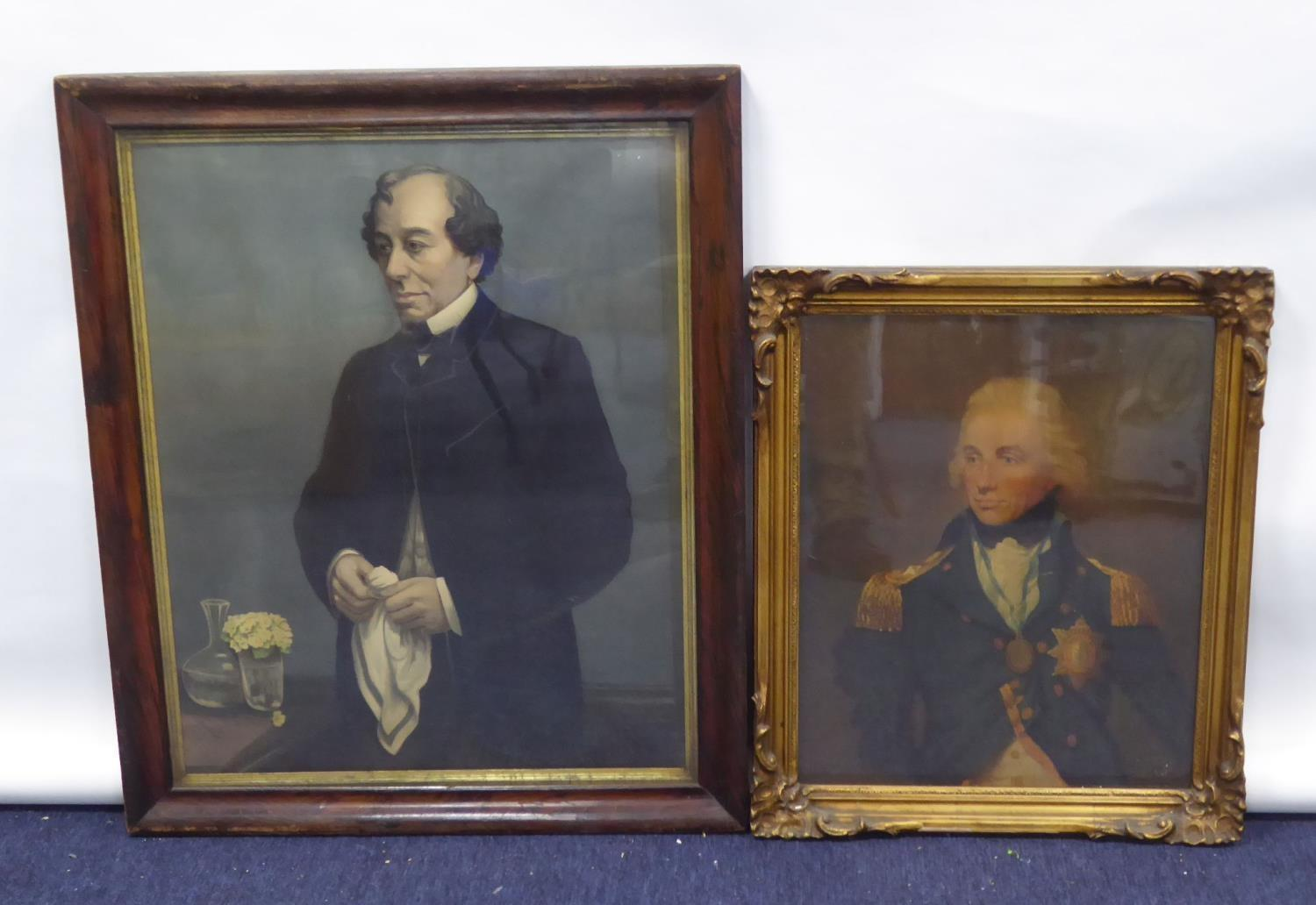 """Lot 63 - VICTORIAN CHROMOLITHOGRAPHIC PRINT OF DISRAELI, 25"""" x 20"""" (63.5 x 51cm) (sight) and a MEDICI"""