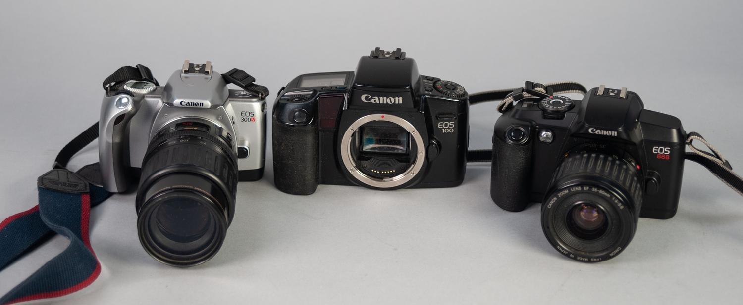 Lot 449 - TWO CANON 35mm SLR ROLL FILM CAMERAS, comprising: EOS 300V, with CANON 35-135mm,f:4-5.6 AF ZOOM