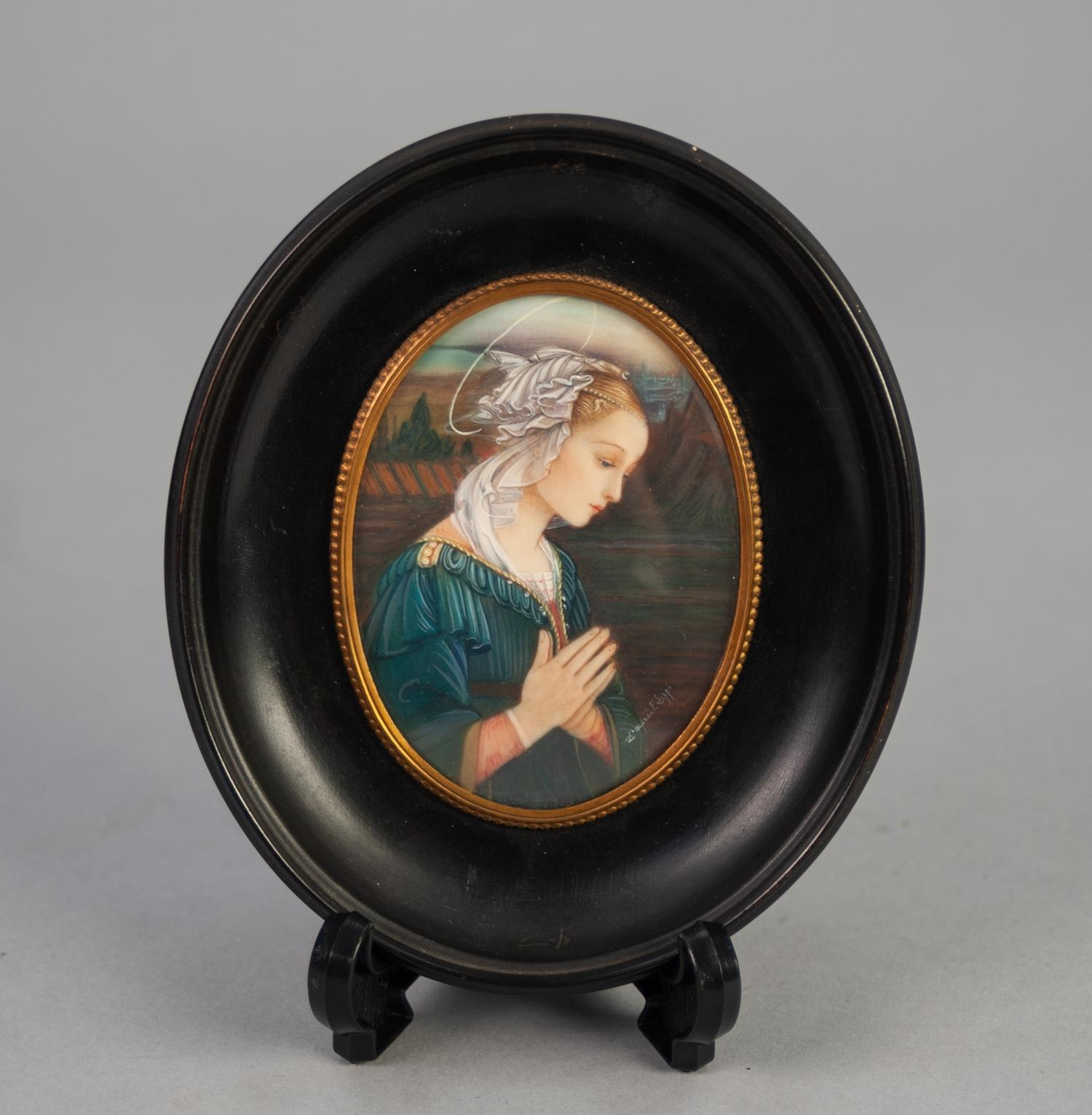 """Lot 881 - AFTER F. LIPPI PORTRAIT MINIATURE 'Virgin of the Pearls' oval 3 1/2"""" x 2 1/2"""" in ebonised frame"""
