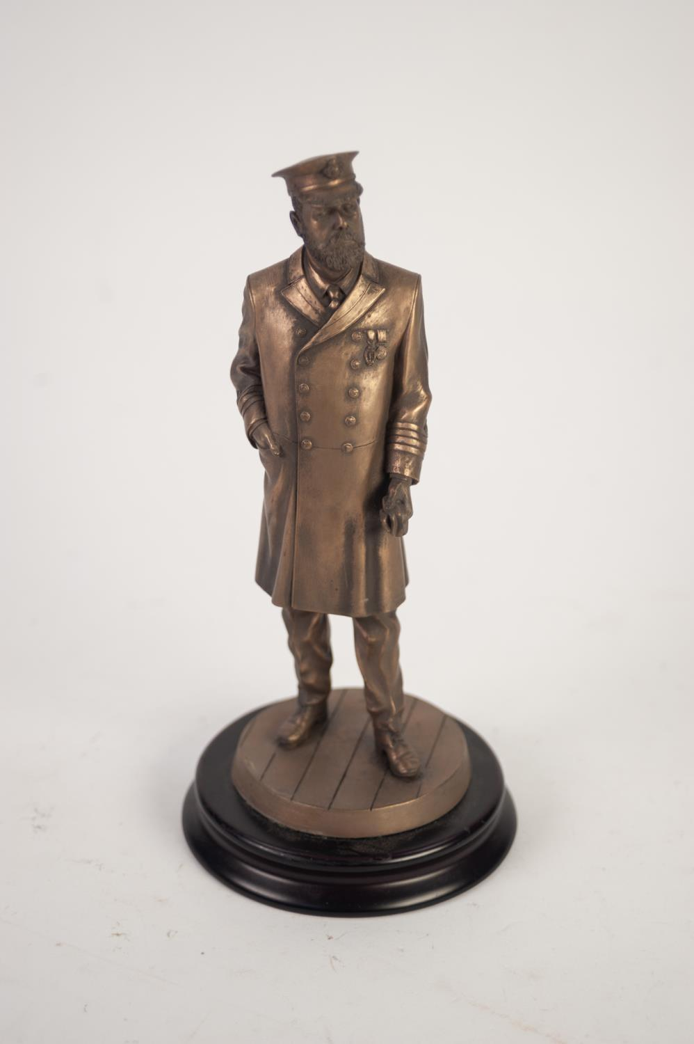 Lot 42 - MODERN DETAILED BRONZED COMPOSITION STANDING FIGURE OF GEORGE V IN MILITARY UNIFORM, stamped PCS