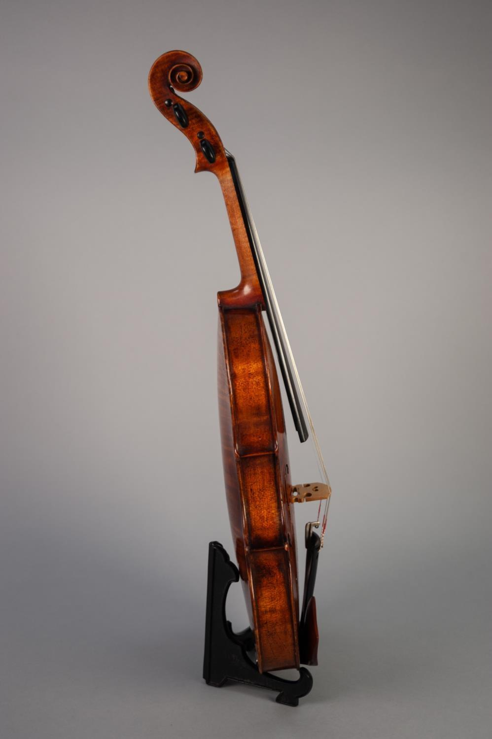 """Lot 451 - GOOD LATE 19th CENTURY FRENCH VIOLIN - SCHOOL OF CAUSSIN having one piece 14 3/16"""" (36cm) back and a"""
