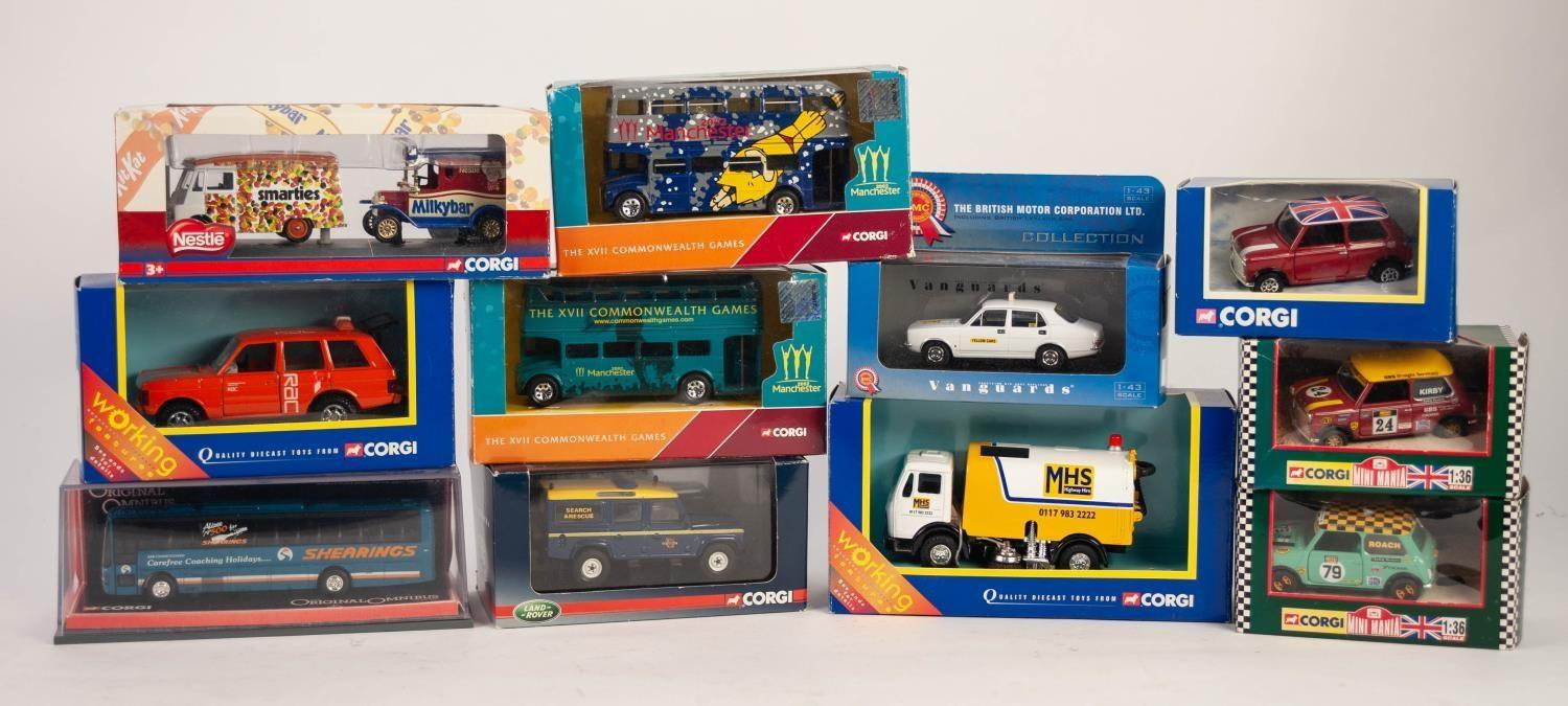 Lot 484 - ELEVEN MODERN CORGI MINT AND BOXED MAINLY COMMERCIAL DIE CAT MODEL VEHICLES including road sweeper