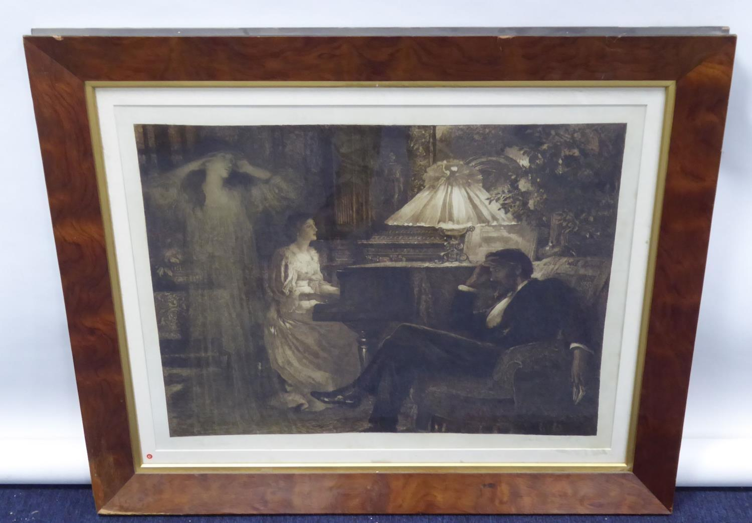 Lot 60 - ROBERT W MACBETH AFTER FRANK DICKSIE, ETCHING ON JAPAN PAPER, drawing room interior with a lady at a