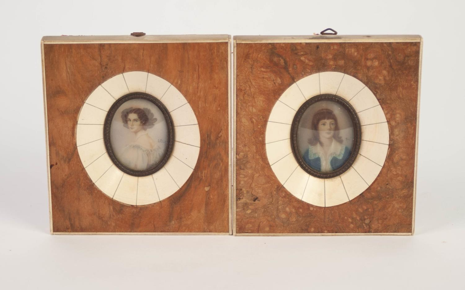 Lot 852 - TWO EARLY 20th CENTURY PASTICHE PORTAIT MINIATURES after Gainsborough and Steiler, in bone and