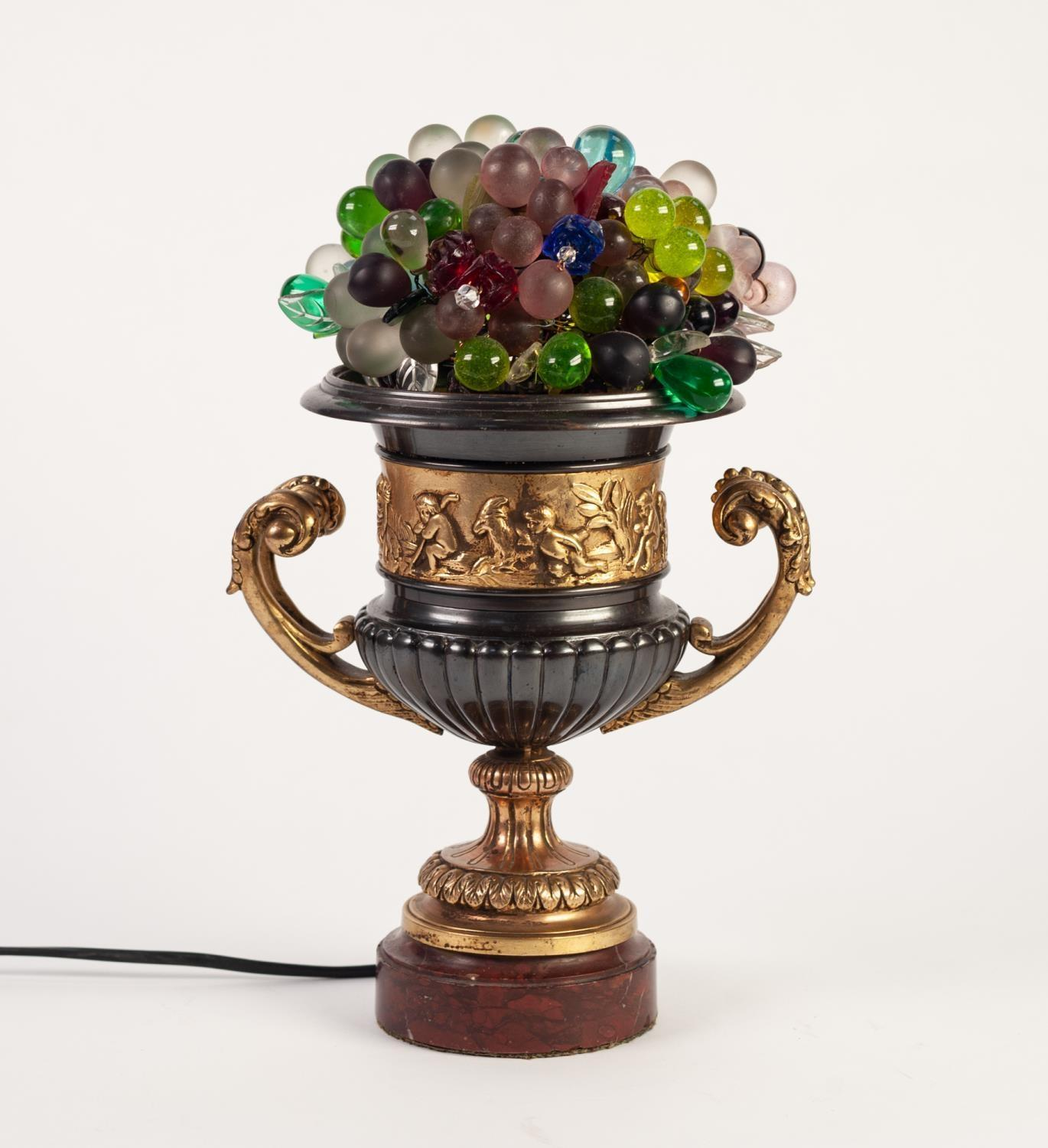Lot 804 - 20th CENTURY CONTINENTAL 'BRONZED' AND GILDED METAL CAMPANA SHAPE TWO HANDLED VASE, as an electric