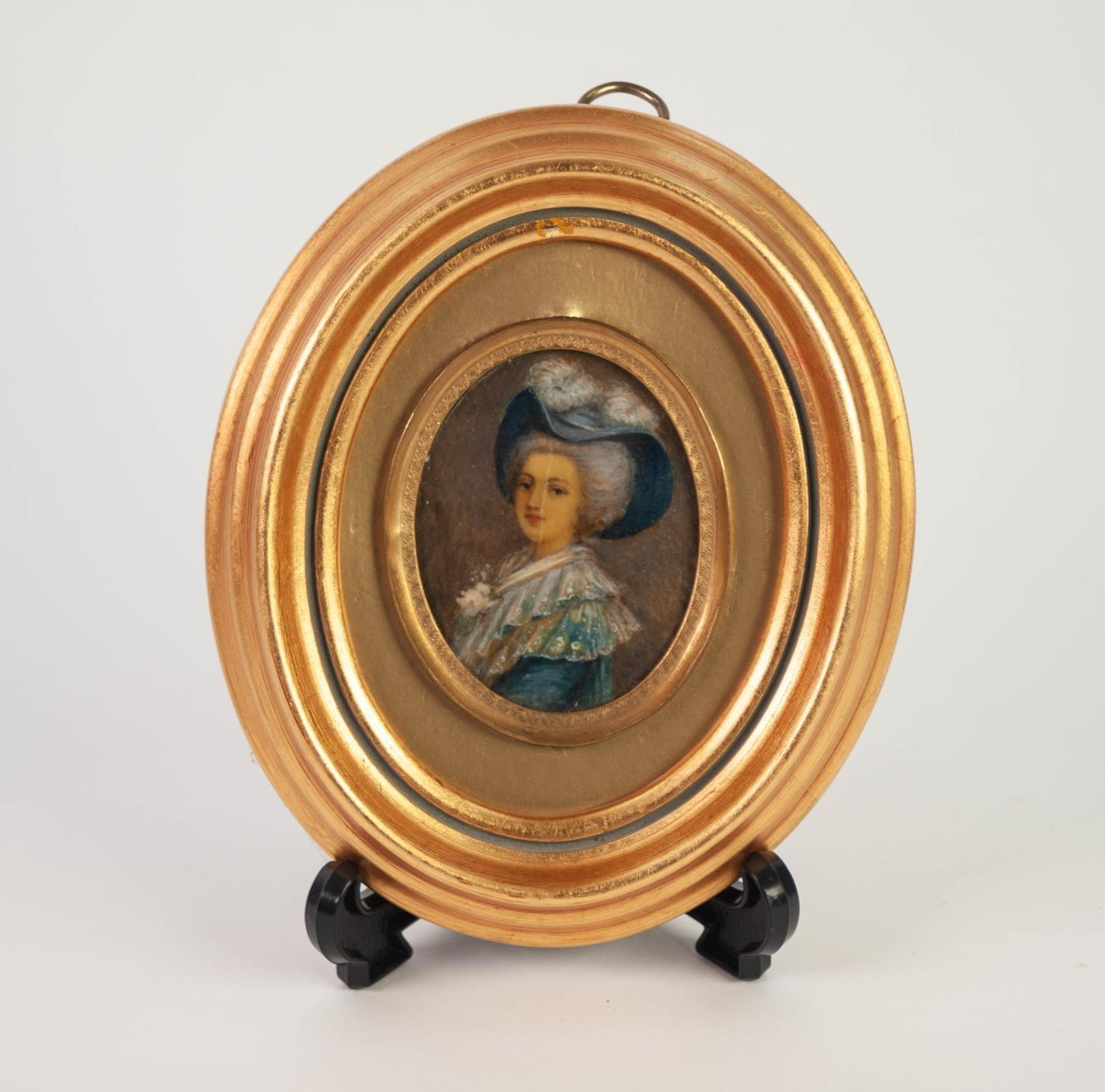 Lot 693 - OVAL LATE 18th CENTURY MINIATURE OIL PAINTING ON IVORY of a lady in broad blue hat with ostrich