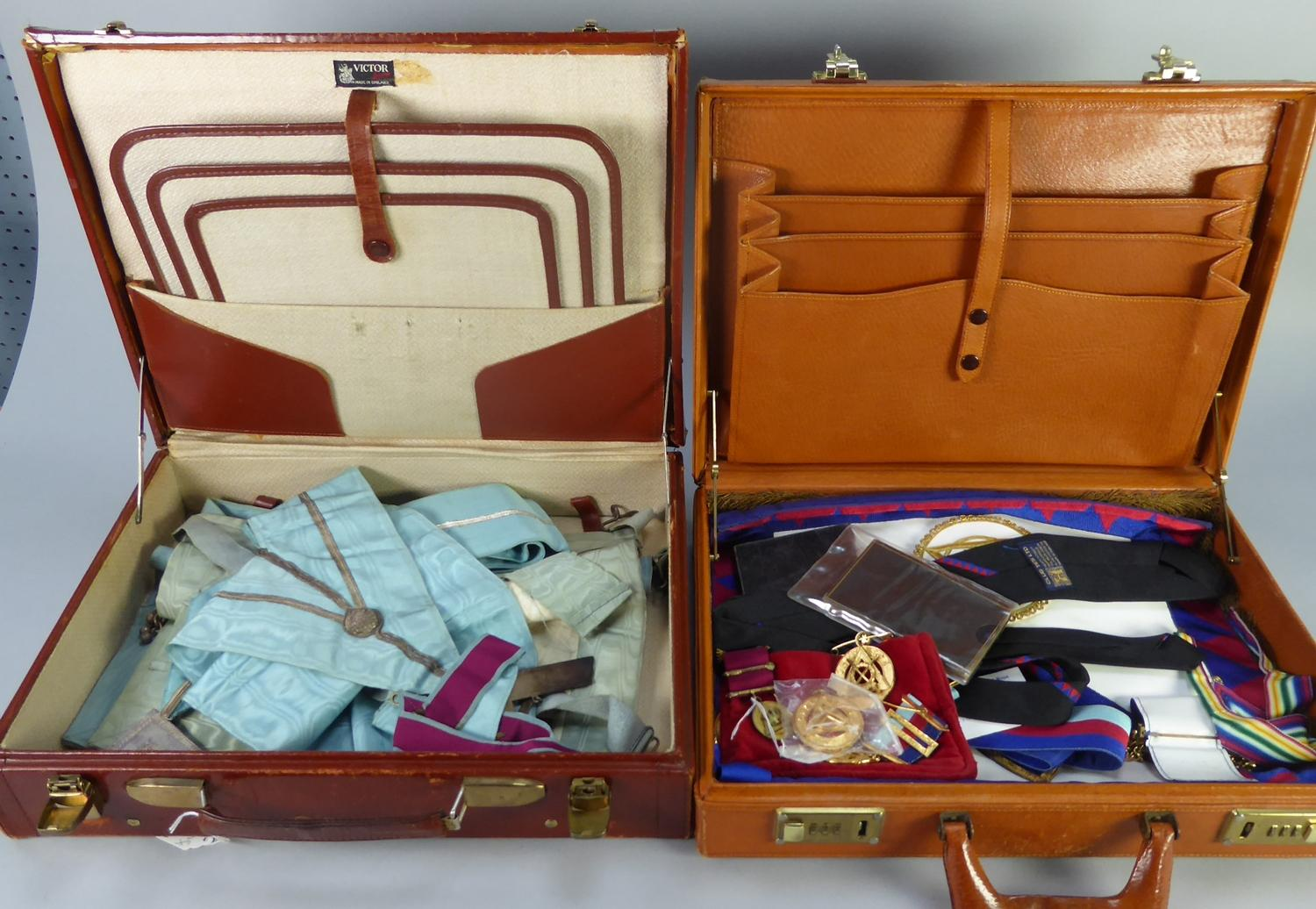 Lot 933 - GOOD, LIGHT TAN PIG SKIN FITTED CASE CONTAINING A SET OF MASONIC REGALIA FOR 'CHESHIRE' together