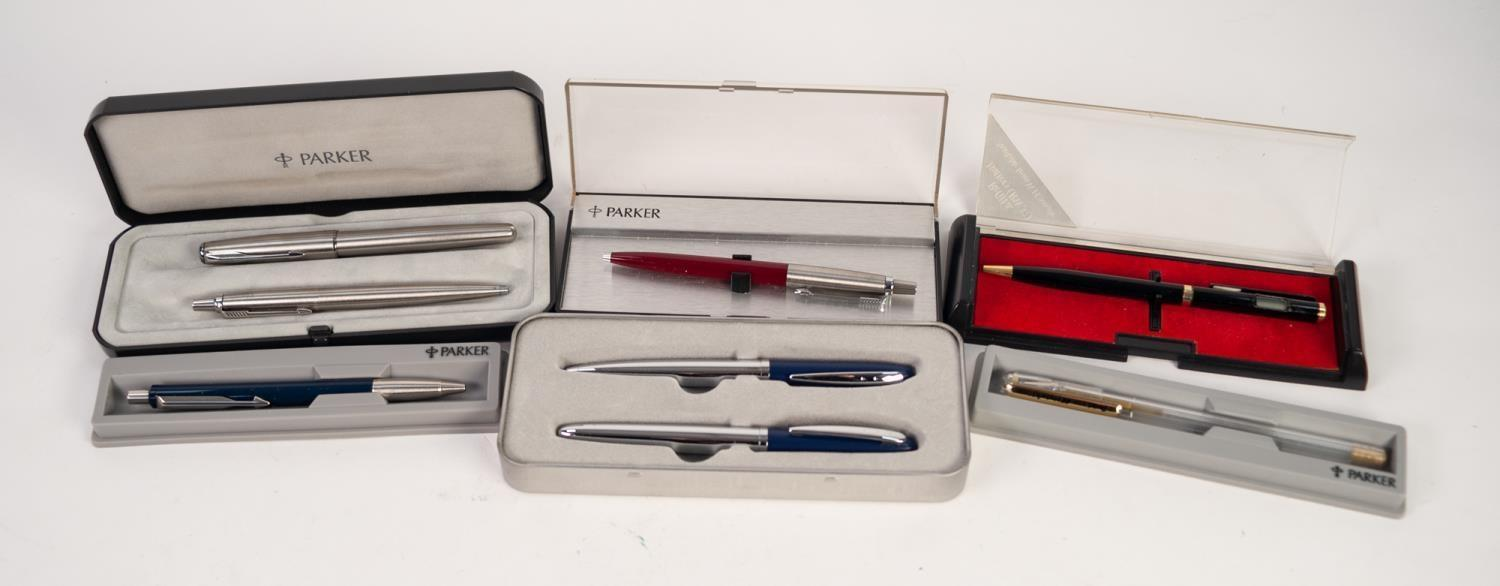 Lot 142 - FOUR MODERN BOXED PARKER PENS, including a SONNET STAINLESS STEEL TWO PEN SET, together with a