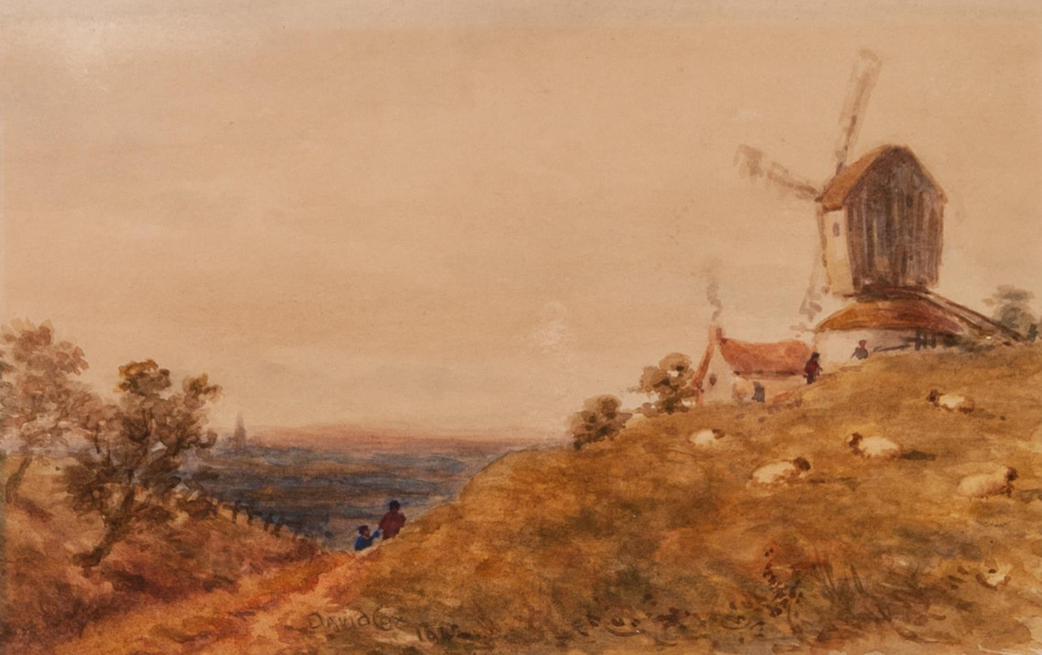 Lot 197 - AFTER DAVID COX (NINETEENTH CENTURY) WATERCOLOUR DRAWING Landscape with figures and windmill