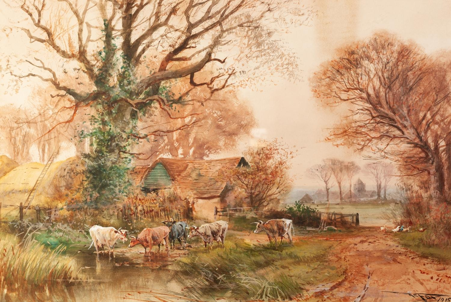 Lot 170 - HENRY CHARLES FOX RBA (b 1860) Watercolour Landscape with cattle watering at a stream, a farmstead
