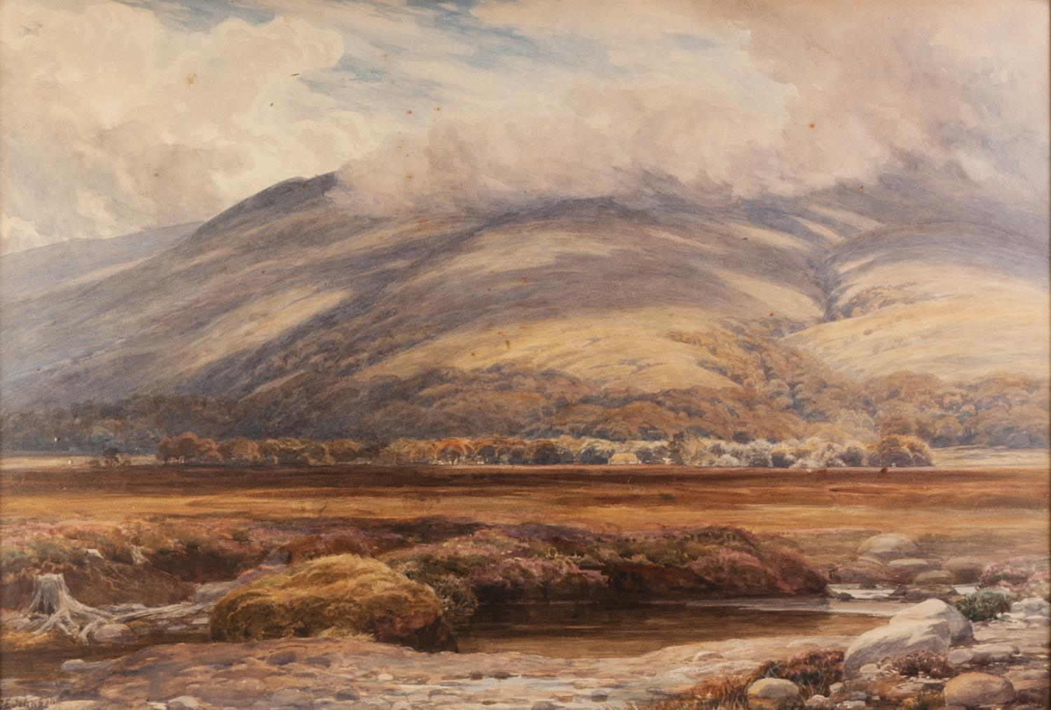 Lot 183 - CHARLES EDWARD JOHNSON (1832 - 1913) WATERCOLOUR DRAWING Mountainous landscape with river valley