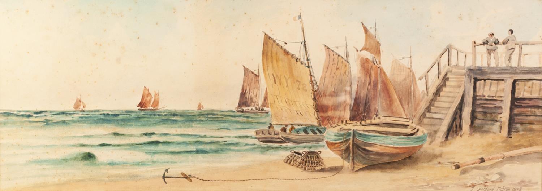 Lot 175 - J. GELDARD WALTON (NINETEENTH/ TWENTIETH CENTURY) PAIR OF WATERCOLOUR DRAWINGS ?Scarbro, low tide?