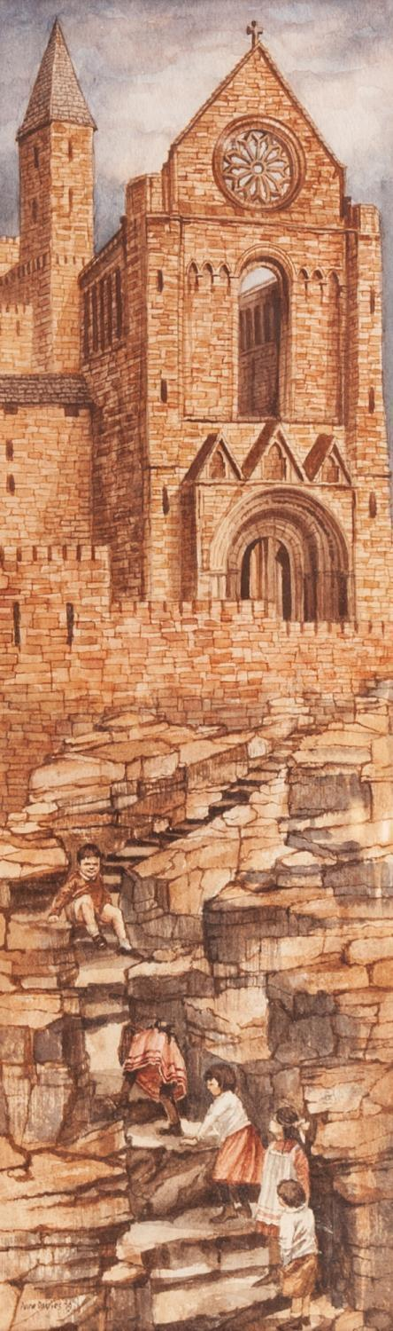 Lot 180 - ANNE DAVIES (TWENTIETH CENTURY) WATERCOLOUR DRAWING ?Climb to the Ruined Abbey? Signed and dated (