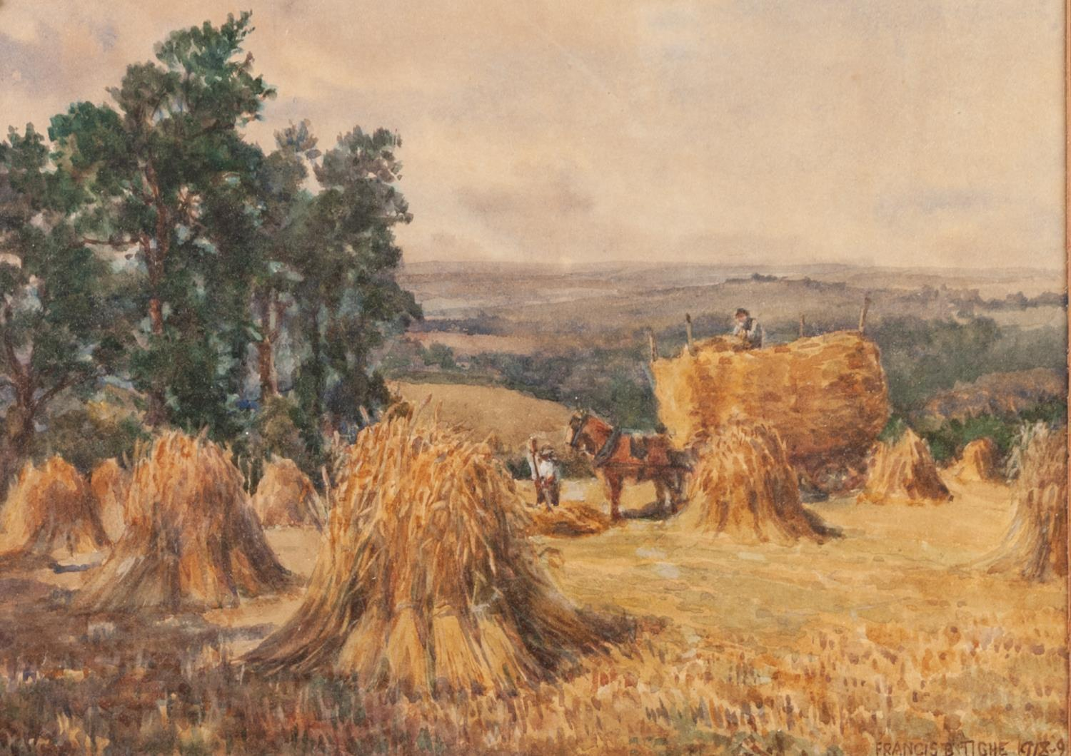 Lot 182 - FRANCIS BROWN TIGHE (c. 1885-1926) PAIR OF WATERCOLOUR DRAWINGS Harvesting scenes with figures and