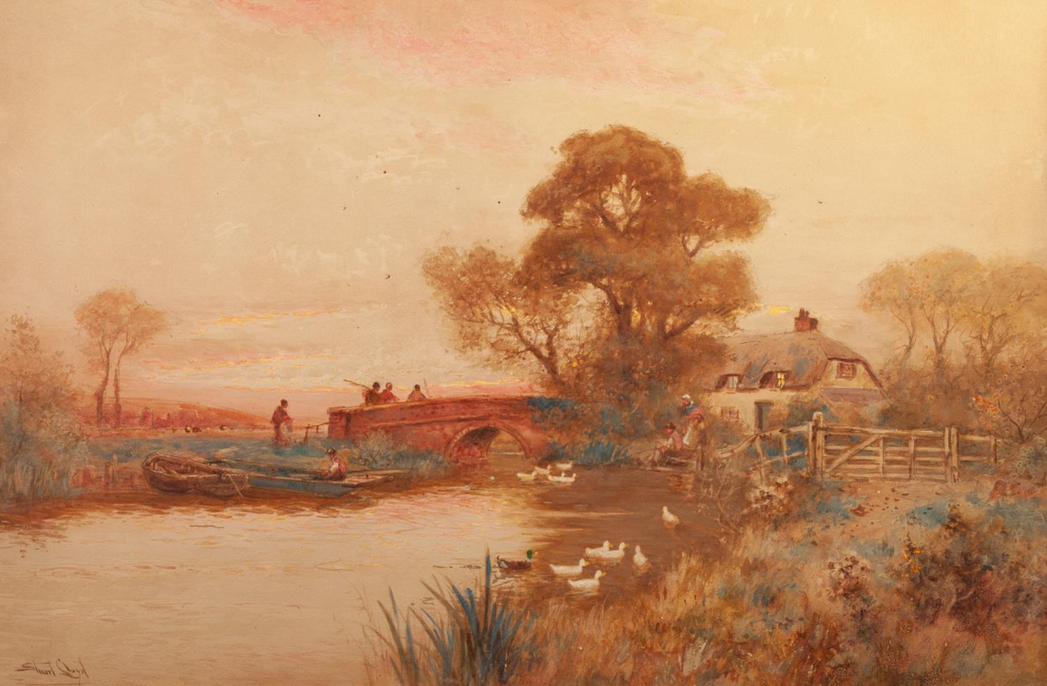 Lot 195 - WALTER STUART LLOYD (1845 - 1929) Watercolour A river landscape at sunset with figures crossing a
