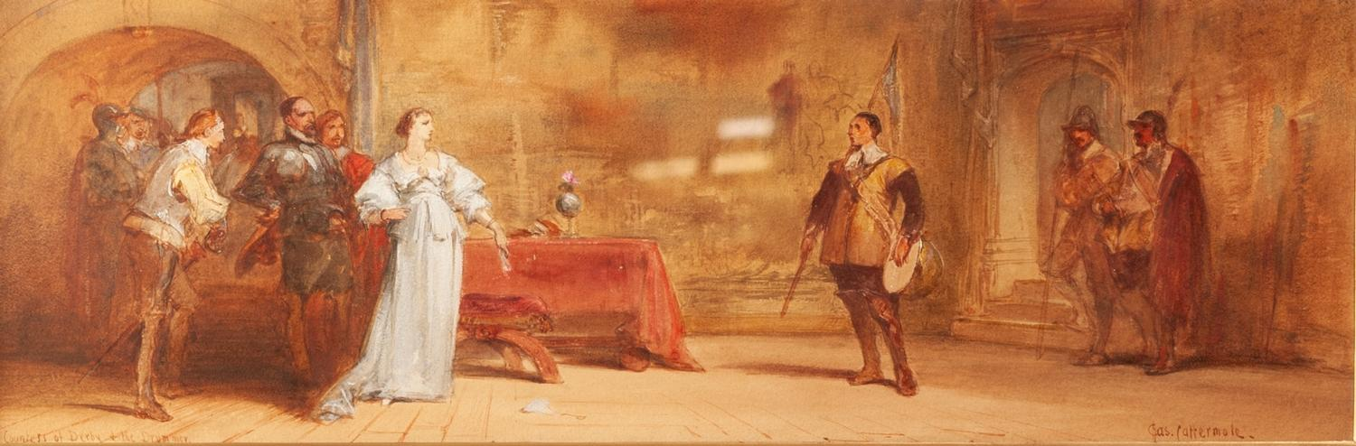 Lot 171 - CHARLES CATTERMOLE R.I. (1832 - 1900) WATERCOLOUR DRAWING 'The Countess of Derby and the Drummer'