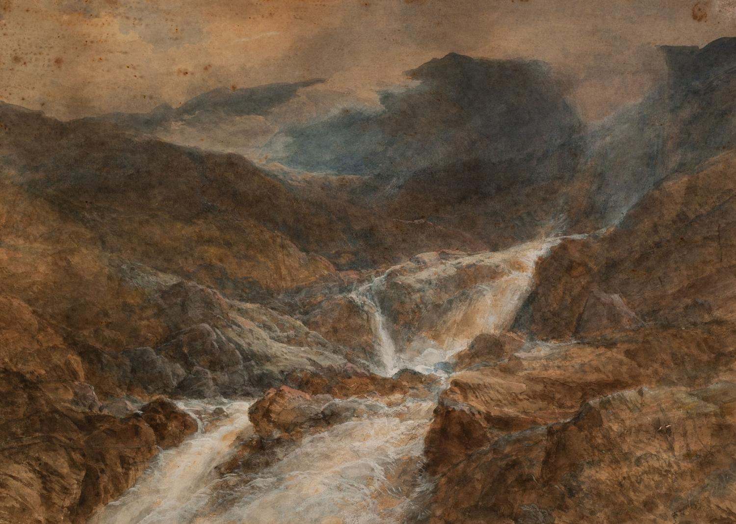 Lot 192 - UNATTRIBUTED (NINETEENTH CENTURY BRITISH SCHOOL) WATERCOLOUR DRAWING Misty highland landscape with