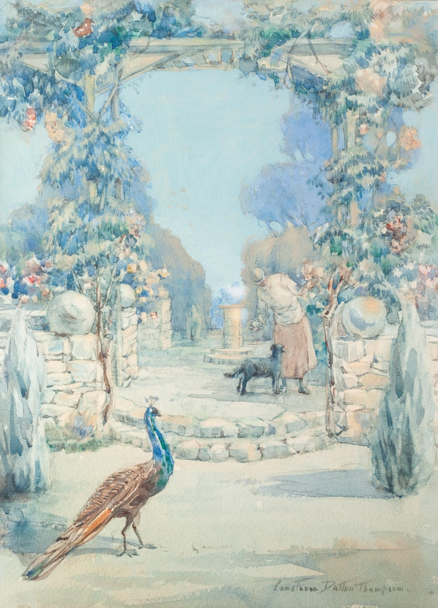 Lot 167 - CONSTANCE DUTTON THOMPSON (b 1882) Watercolour Garden scene with a lady and pet dog, a peacock in