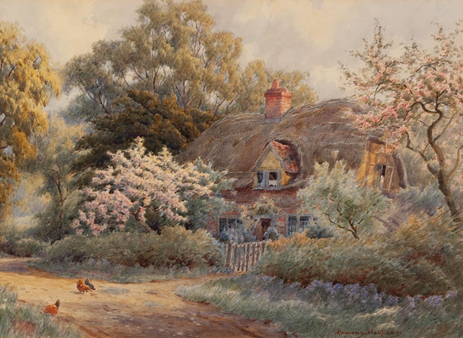 Lot 178 - HOWARD NEVILLE WALFORD (1864-1950) WATERCOLOUR DRAWING Chickens on a country lane in front of a
