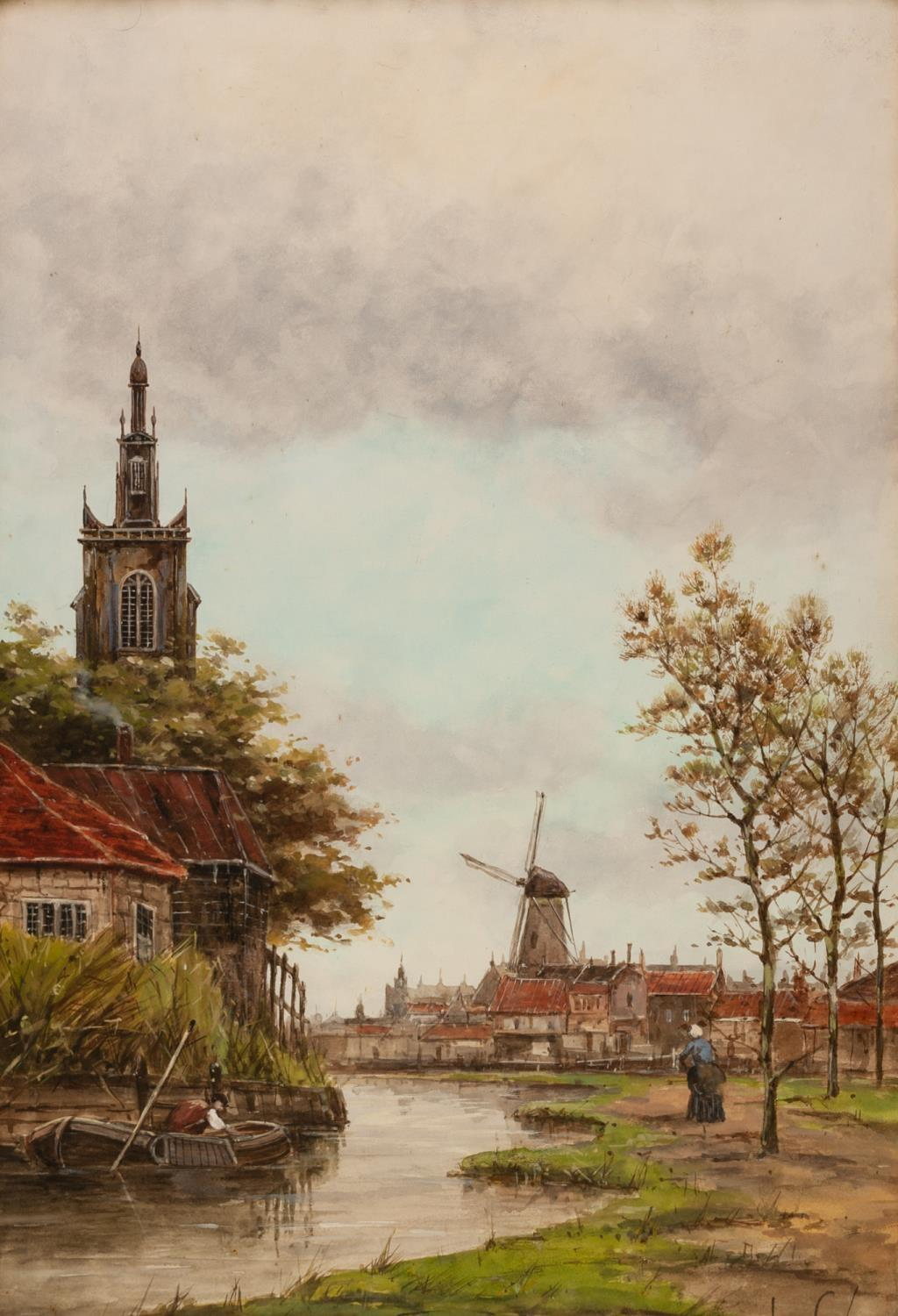 Lot 199 - JAN VAN COUVER (1836-1909) PAIR OF WATERCOLOUR DRAWINGS Dutch canal scenes Signed 20 ¾? x 14? (52.