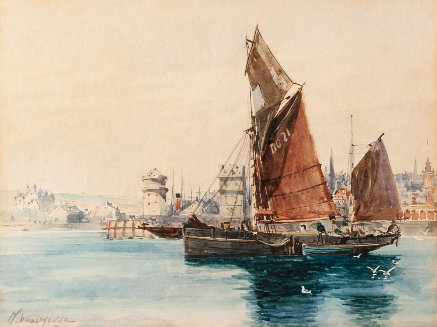 Lot 168 - WILLIAM WOODHOUSE (1857 - 1935) Watercolour Entrance to a harbour on the Isle of man Signed lower