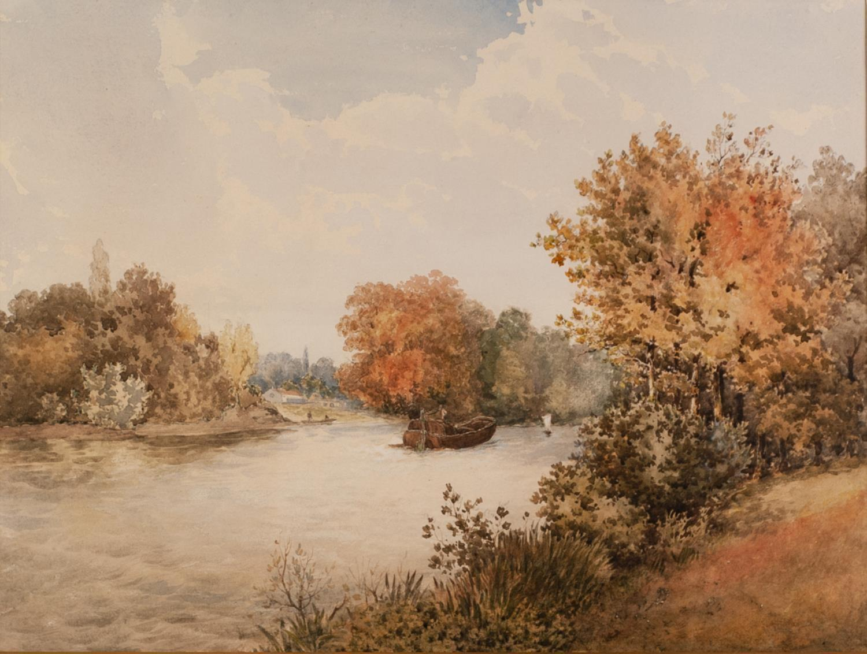 Lot 184 - BENJAMIN JOHN OTTEWELL (1847 - 1937) PAIR OF WATERCOLOUR DRAWINGS River scene with footbridge and