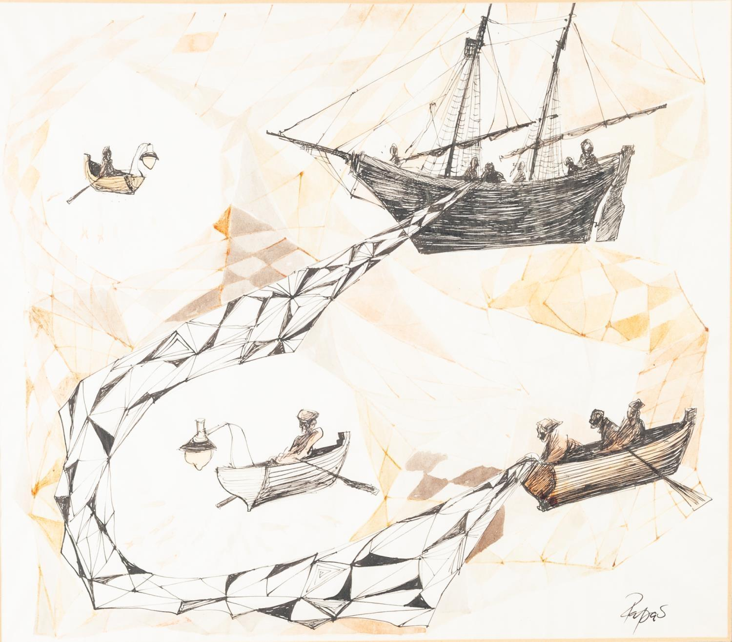 Lot 200 - WILLIAM PAPAS (1927-2000) PEN, BLACK INK AND WATERCOLOUR DRAWING 'Elias the Fisherman', an