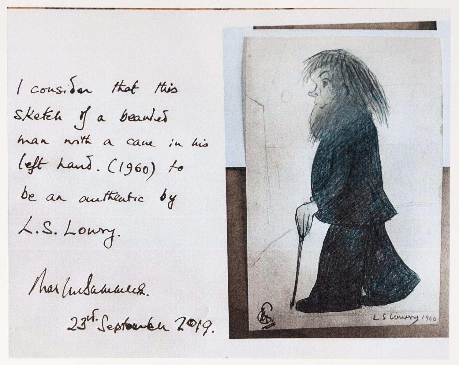 Lot 79 - LAURENCE STEPHEN LOWRY (1887 - 1976) PENCIL DRAWING Bearded man with a walking cane in his left hand