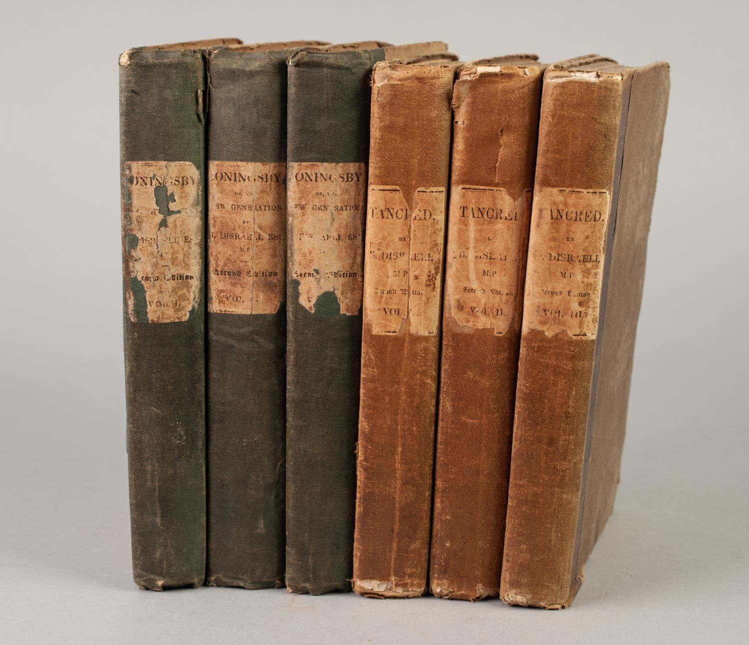 Lot 24 - B DISRAELI, TANCRED AND THE NEW CRUSADE, 3 volumes, published Henry Colburn, 1847, second edition,