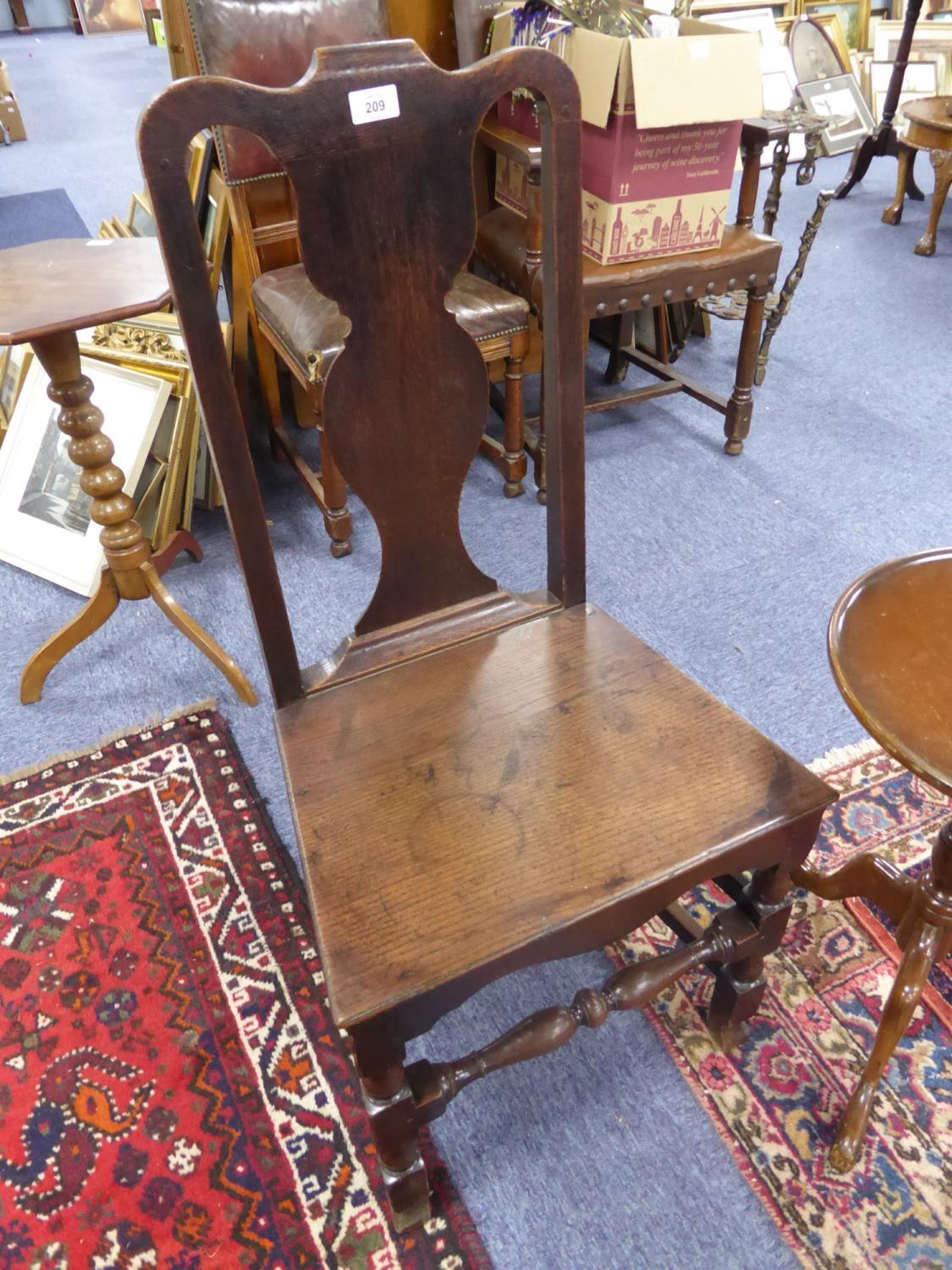 Lot 209 - ANTIQUE OAK SINGLE DINING CHAIR, with vase shaped splat, solid seat and block and turned front