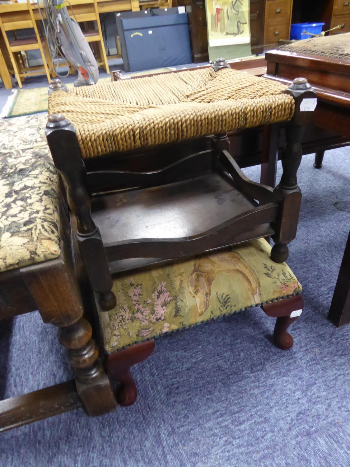 Lot 218 - PRIORY STYLE STAINED OAK AND BEECH LONG FOOTSTOOL, with tapestry covered top and turned supports, 15