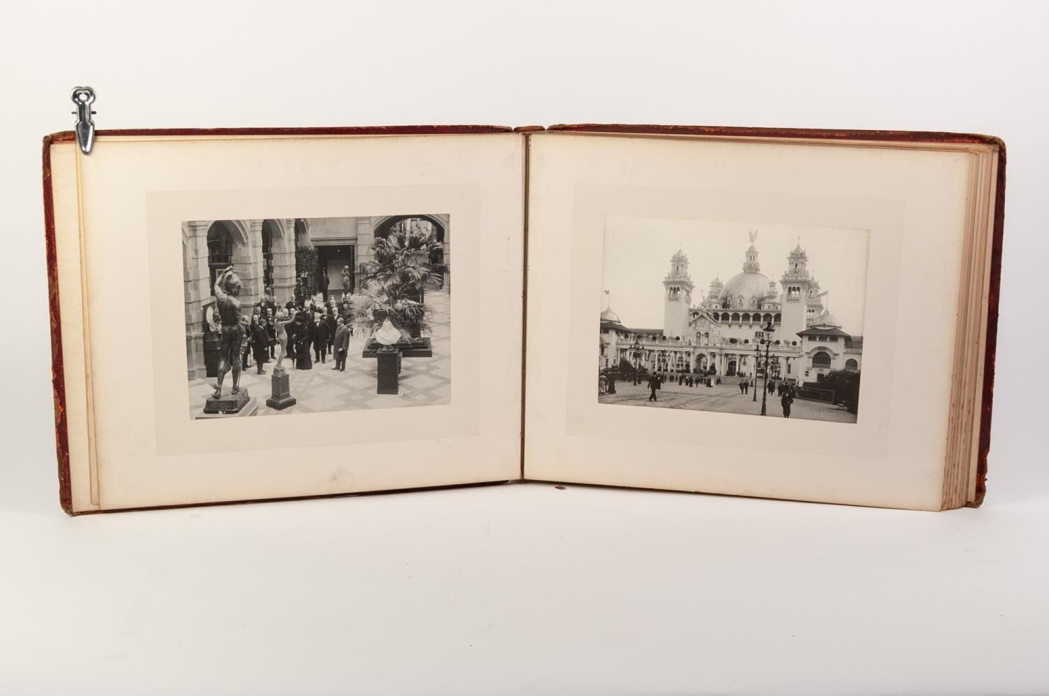 Lot 113 - GLASGOW INTERNATIONAL EXHIBITION 1901- Photograph album bound in full leather with gilt titles and
