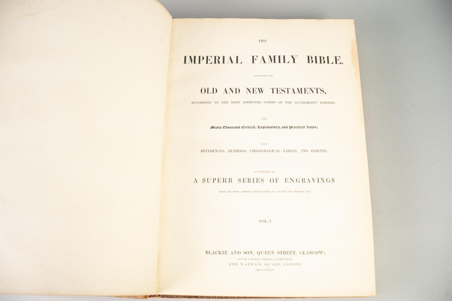 Lot 22 - THE IMPERIAL FAMILY BIBLE, containing the Old and New Testament, 2 large volumes, published by