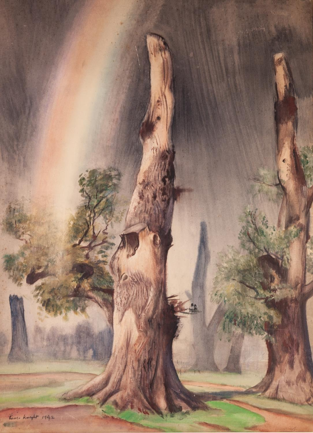 """Lot 202 - (DAME) LAURA KNIGHT (1877-1970) WATERCOLOUR DRAWING dead trees and rainbow signed and dated 1942 30"""""""