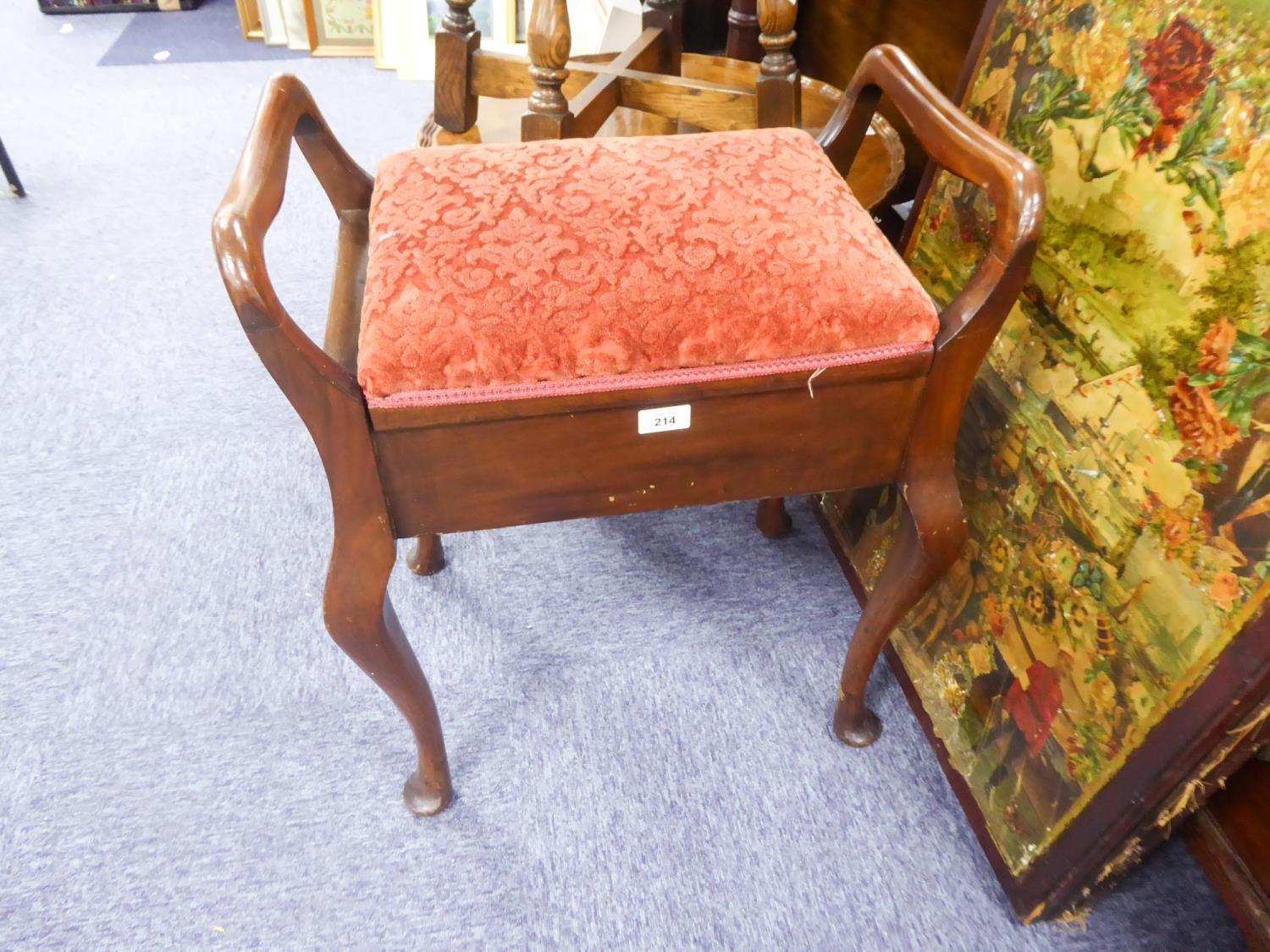 Lot 214 - EARLY TWENTIETH CENTURY WALNUT TWO HANDLED PIANO STOOL, of typical form, the hinged seat covered