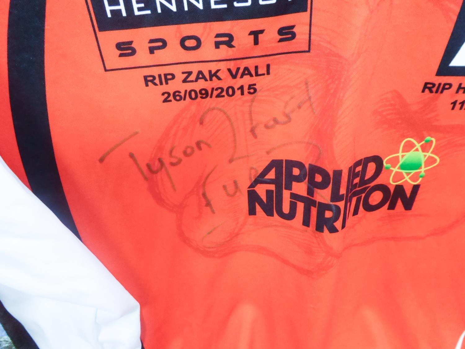 Lot 417 - TWO TYSON FURY SIGNED LONG SLEEVED BOXING SHIRTS, both printed for the bout against Klitschko, 28/