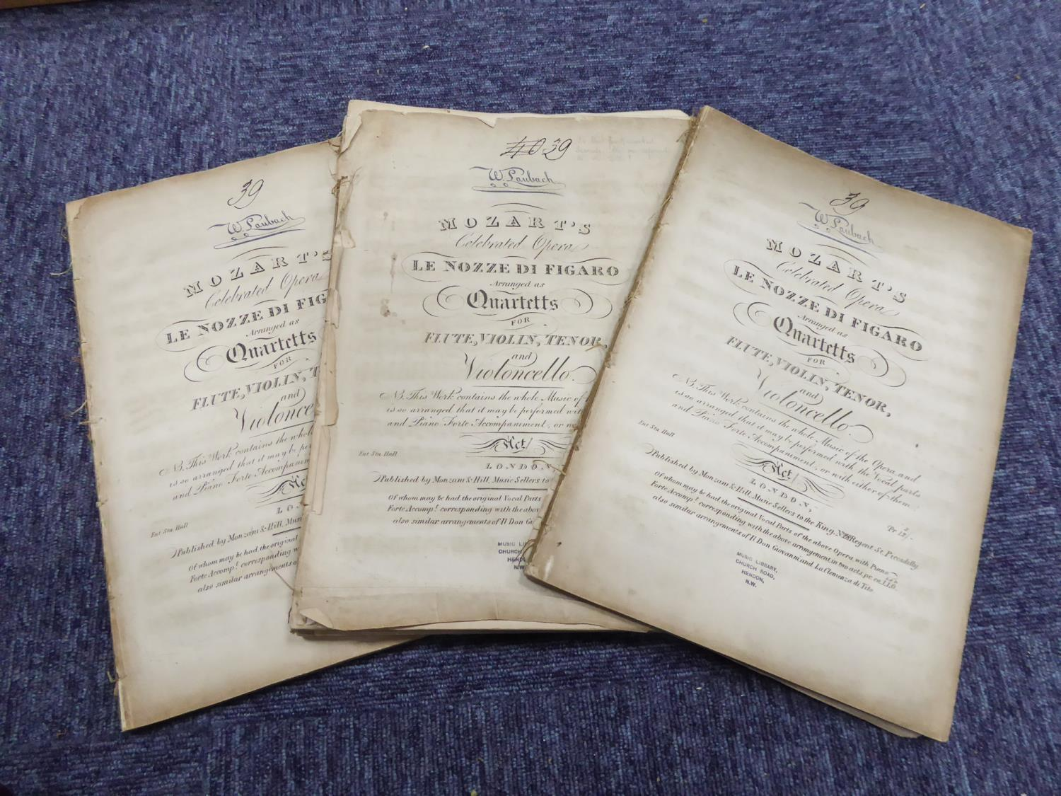 Lot 130 - MOZART SHEET MUSIC Le Nozze Di Figaro Act 1 and Don Giovanni Act 2 publisher Mozani and Hill music