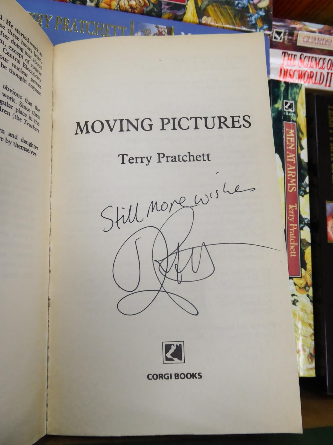 Lot 146 - Terry Pratchett- Morning Pictures, A Discworld Novel, pub by Corgi (pb) SIGNED ?Still More Wishes