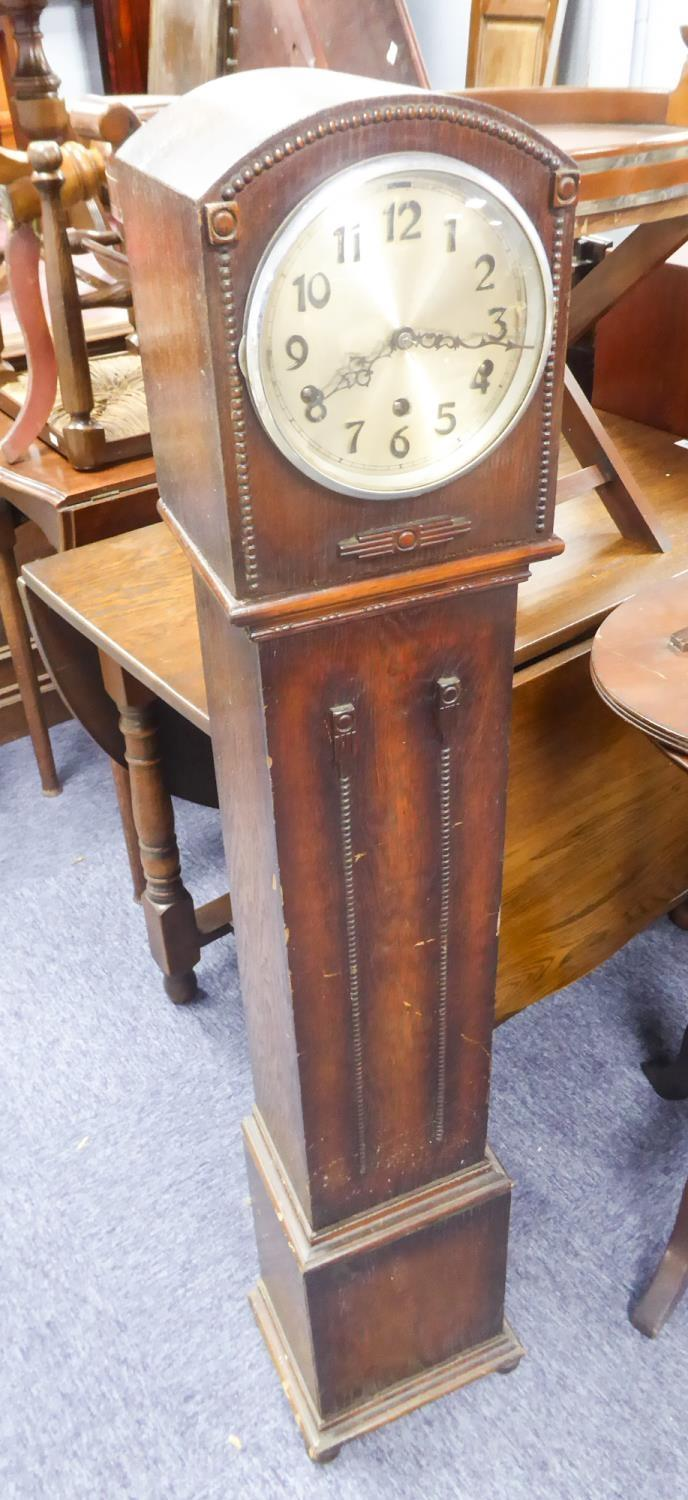 Lot 204 - 1930's OAK CASED 'GRAND DAUGHTER' LONGCASE CLOCK, with silvered Arabic dial and ANVIL movement