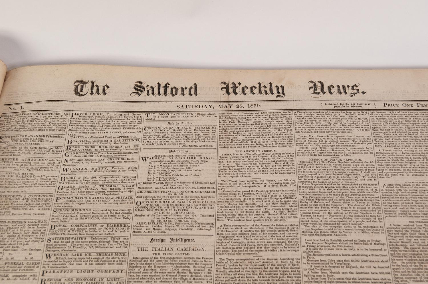 Lot 37 - SALFORD WEEKLY NEWS bound volume from No 1 - 28 May 1859 - No 32 - 31 December 1859. Large folio,