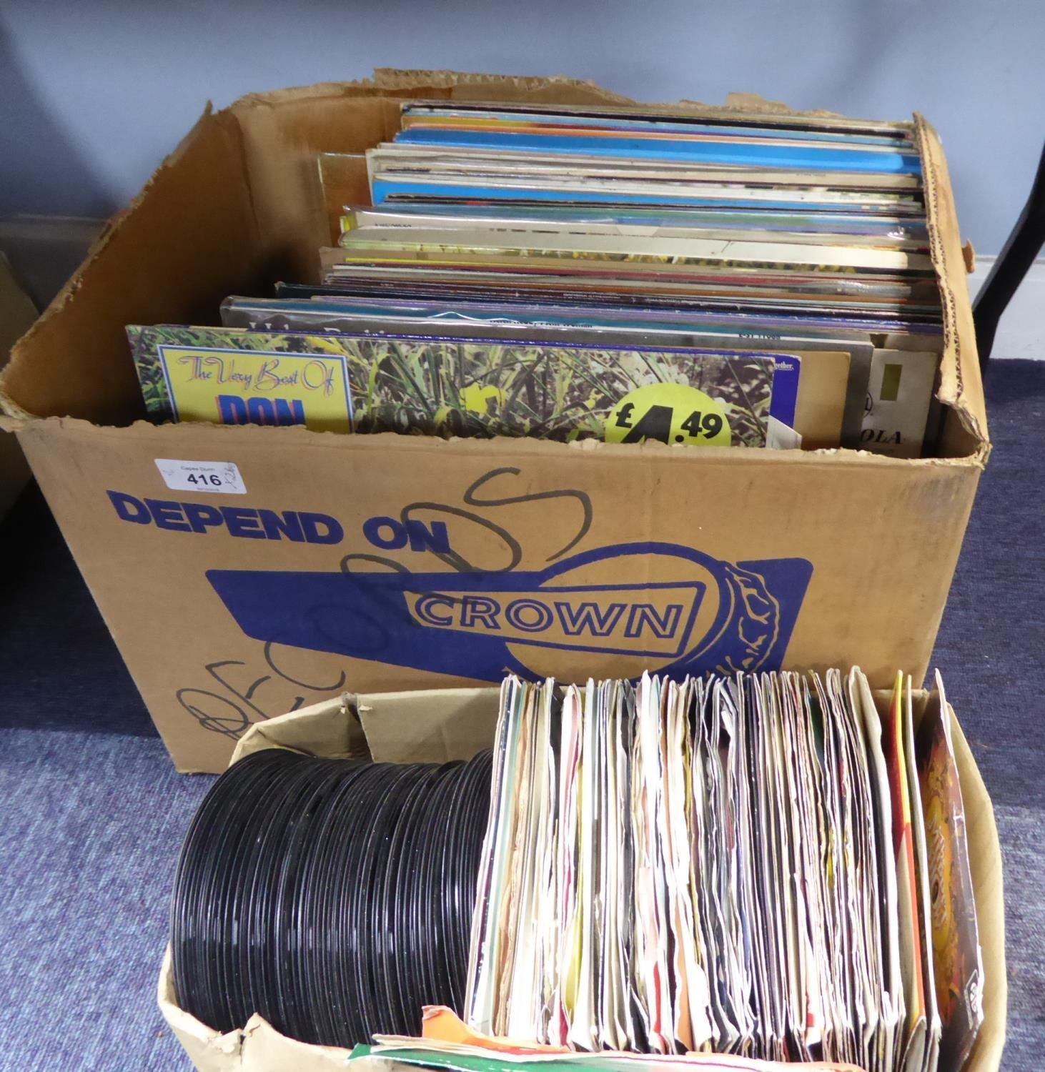 Lot 416 - QUANTITY OF VINYL RECORDS, ALBUMS AND SINGLES, A MIXED GENRE COLLECTION; classical, pop, folk,