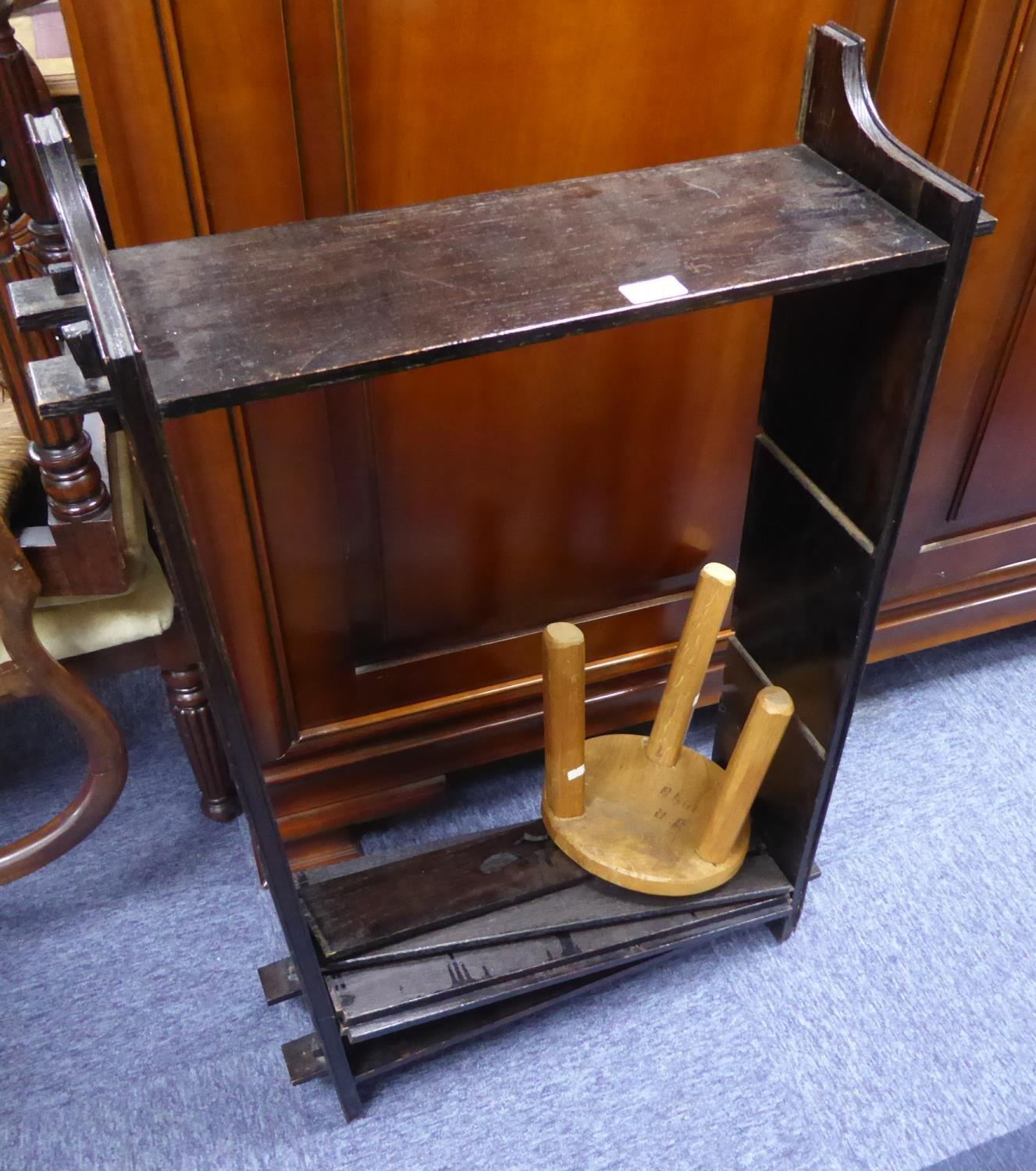 """Lot 212 - DARK STAINED OAK SMALL OPEN BOOKCASE, of pegged construction with two fixed shelves, 39 1/2"""" (100."""