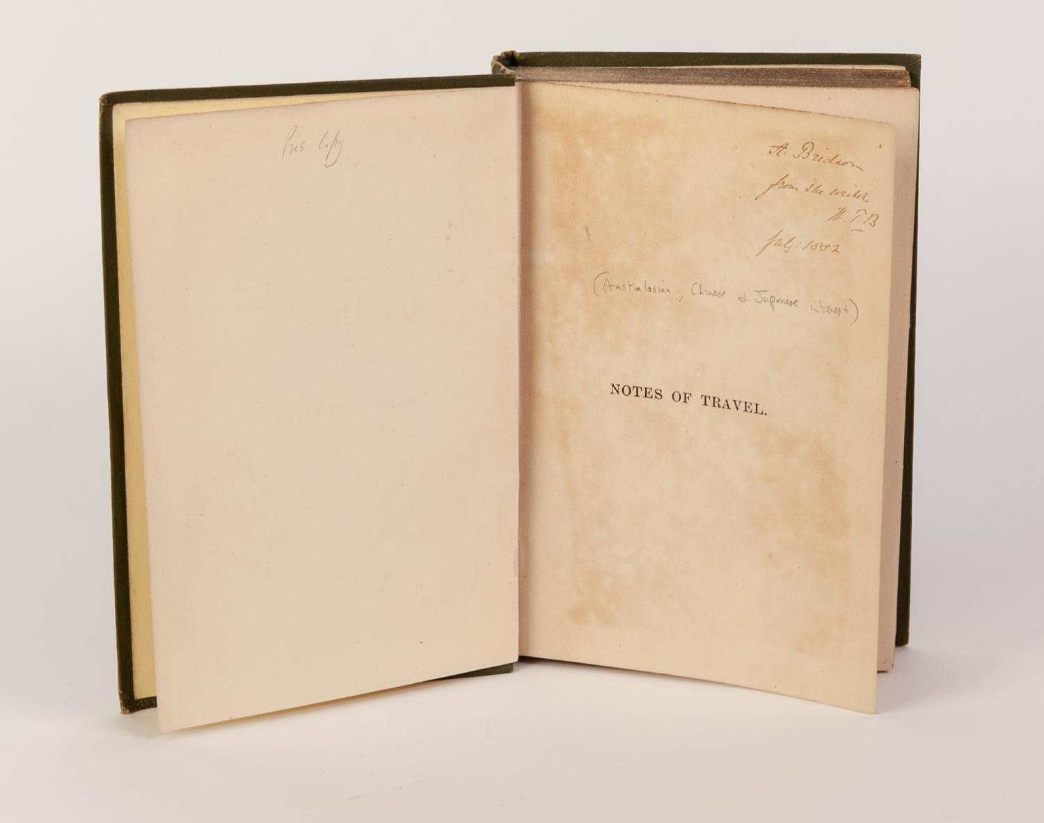 Lot 77 - TRAVEL EXPLORATION- W TOWERS BROWN- Notes of Travel, Extracts from Home Letters Written During a Two