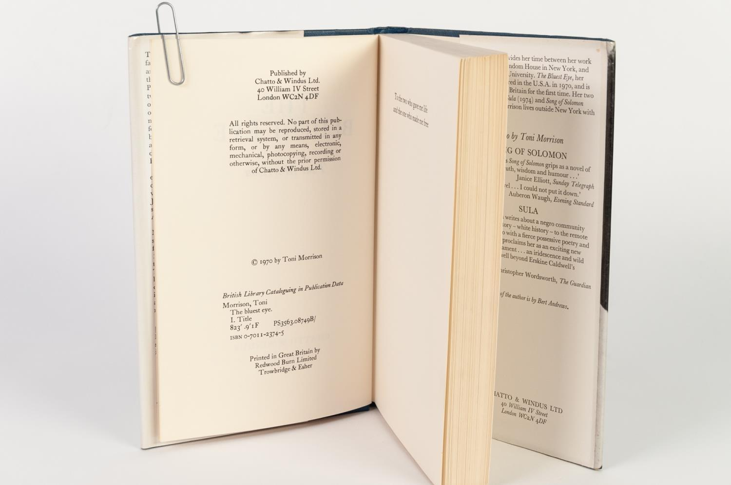 Lot 145 - TONI MORRISON - THE BLUEST EYE published Chatto and Windus 1979 first UK edition with original