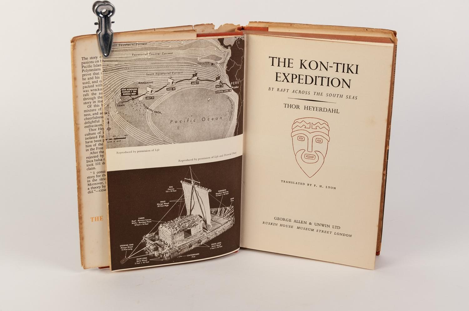 Lot 73 - TRAVEL EXPLORATION-Thor Heyerdahl- The Kon Tiki Expedition, published by Allen Unwin, 1950 1st